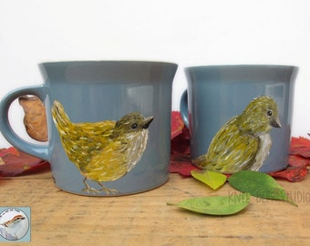 Bird Hand Painted Coffee Cups Set of Two Mugs Functional Fine Art on Blue Ceramic Cups Unique Original Housewarming or Wedding Gift Under 70
