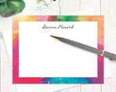 personalized stationery set - ABSTRACT ART 4 - set of 12 flat note cards - modern stationary