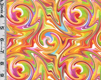 Fabric Quilting Treasures Just Trippin Psychedelic color swirls warm colors 60s 70s retro print