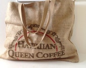 Hawaiian Queen Coffee Sack Tote/ Market Bag/ Beach Bag/ Burlap