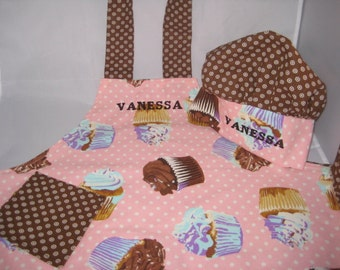Chef Hat and Apron Set - Cupcakes and Polka Dots - Personalized - Fits Toddlers