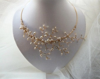 Wedding Bridal Vine Pearly Branches Necklace.