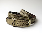 80s vintage Capezio Tan Braided Leather Belt / Made in Argentina