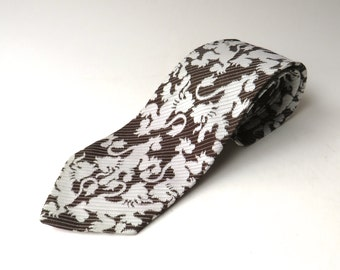 70s vintage Wide Dark Brown and Pale Grey Stylized Lion Print Patterned Tie by Resisto
