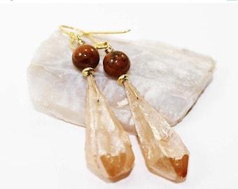 SUMMER SALE Crystal Quartz Shards and Australian Green Opal Gemstone . Vermeil Dangle Drop Earrings . Mystic Peach, Cinnamon Brown . E15077
