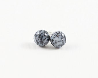 Dendritic Agate Gemstone . 10mm Smooth Domed Round . Sterling Silver Posts Studs Earrings . Speckled Dark and Light Gray . E16107
