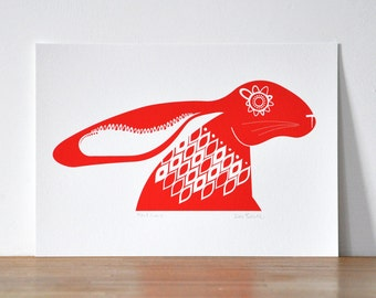 A3 Scandinavian Red Hare - Open Edition Giclee Print