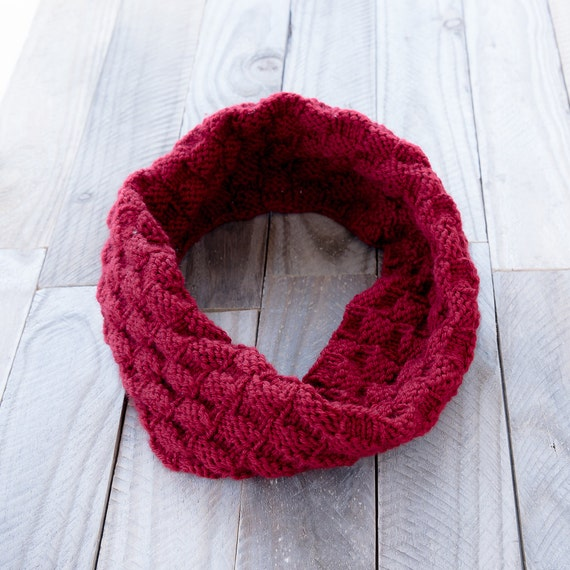 KNITTING PATTERN - The Cordelia Infinity Cowl Pattern - Basket Weave Cowl Pat...