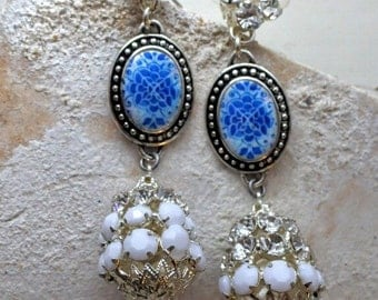 Portugal Rhinestone EARRINGS Antique 16th Century Azulejo Tiles - Tomar Cloister - Convent of Christ built in 1160 - Camellias -