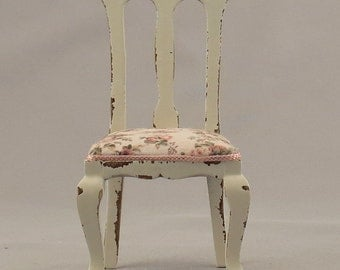 Dollhouse Miniature Shabby Chic Wood Side Chair with Floral Fabric