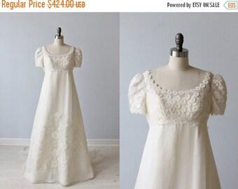 SALE Vintage Lace 1960s Wedding Dress /  Empire Waist / A-Line / Modest / Short Sleeves  / Silk / Priscilla of Boston Boutique
