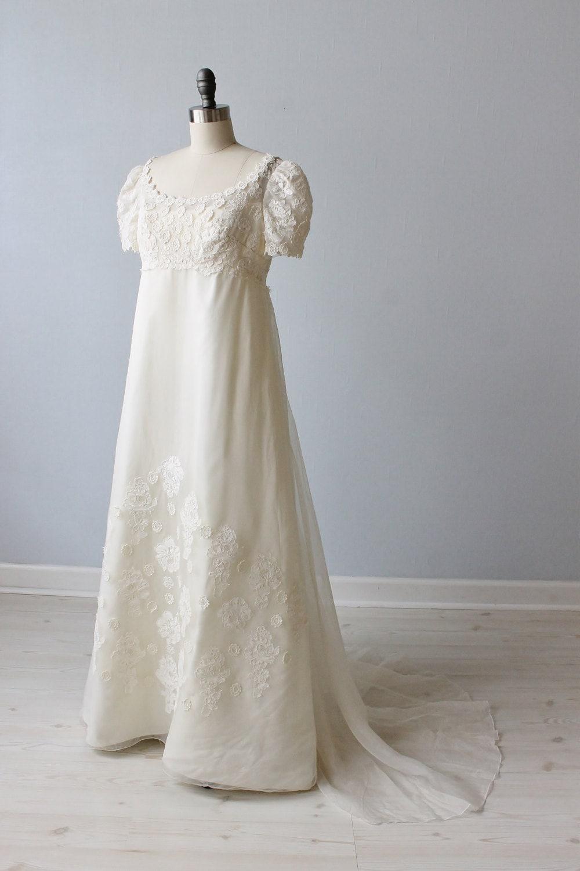 Vintage Lace 1960s Wedding Dress Empire Waist A Line