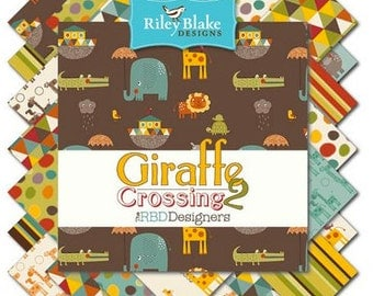 SALE - 5 inch stacker (Charm Pack) Giraffe Crossing 2 - (42 squares) - Riley Blake Designs
