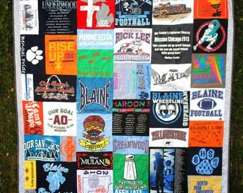 Custom Tshirt Quilt - High School TShirt Quilt - College Tshirt Quilt -  Memory Quilt