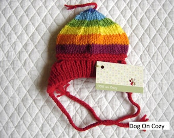 Dog Hat, Hand Knit Pet Hat, Size XXSMALL - MEDIUM, Jelly Bean