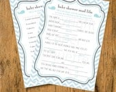 10% OFF INSTANT UPLOAD Whale Baby Shower Game Mad Libs - Blue and Gray Chevron -  Print Your Own