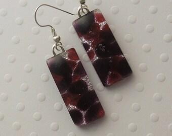 Dichroic Fused Glass Earrings - Glass Earrings - Dichroic Earrings - Dichroic Jewelry - Cute Earrings - Purple Earrings - Mosaic Tiles X7327