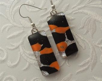 Halloween Earrings - Orange and Black Earrings - Dichroic Fused Glass Earrings - Dichroic Earrings - Pierced Earrings -Mosaic Tiles X7339