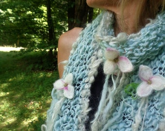 RESERVED - hand knit scarf handspun art yarn soft scarf - flowers of light scarf
