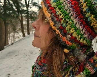 handknit slouchy hat art yarn wool fantasy forest stocking hat -  everything hat