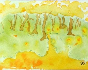Original Watercolor ACEO Art Card, Warm Path, Autumn Trees