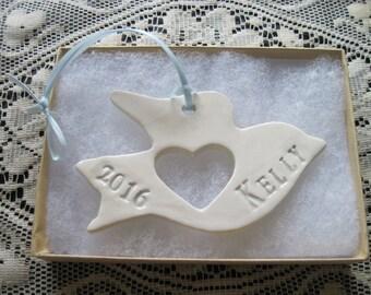 Personalized Dove Memorial  Ornament