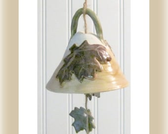 Bell Leaf  Porch Bell Stoneware Clay Leaves Laugh Live