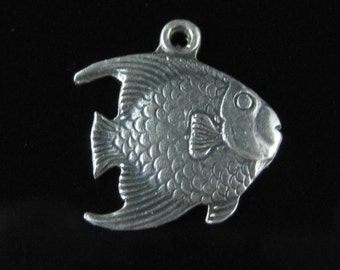 Charm, Sterling Silver, Angel Fish Charm, Silver Fish Charm, Animal Collectible, Cute Silver Fish