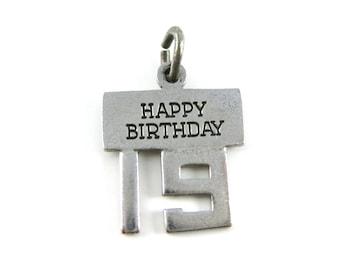 Vintage Wells Happy 19th Birthday Sterling Silver Charm