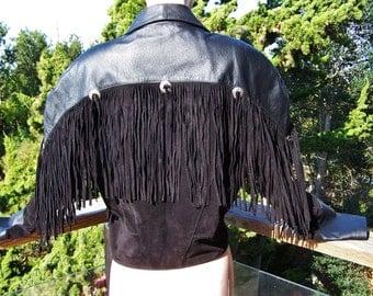 Fringe Leather Jacket, SCULLY Jacket, Black Suede Jacket, Fringed suede jacket, Black Leather coat, size M