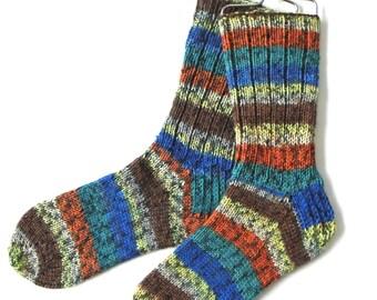 Handknit Socks for Women, Teen Girls, Ladies Socks, striped socks, multicolor socks, wool socks, orange, teal, blue, yellow, one of a kind