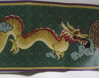Wallpaper 2 Rolls 30 ft Chinese Dragon Wallpaper Border for Scrapbook Junk Journals Scrap Pack Decals Crafts Green Wine Gold Imaginary Asian