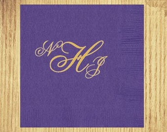 Bright Purple Cocktail Napkins: Your Choice of Monogram and Ink Color