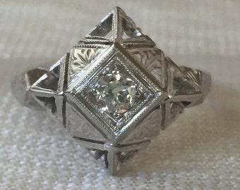 Art Deco 14k White Gold Filigree Old European Diamond Engagement Ring
