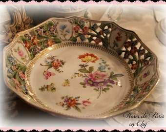 gorgeous reticulated Dresden bowl  deep dish   Pink roses