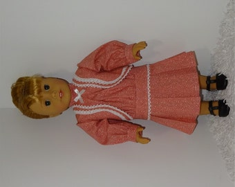 Apricot 1920s Historical Dress, Fits 18 Inch American Girl Dolls