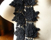 24 Black Flower Appliques for Bridal, Costumes, Garments, Jewelry