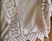 """Embroidered Linen Coverlet/Bedspread with Hand Crocheted Lace in Natural/Ivory France Early 1900's 100"""" x 87"""""""