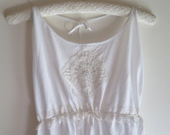 White Cotton Nightgown/Slip Upcycled Halter Style with Cluny and Valencienne Laces Size Medium OOAK