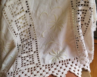 "Embroidered Linen Coverlet/Bedspread with Hand Crocheted Lace in Natural/Ivory France Early 1900's 100"" x 87"""