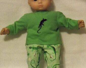 15 inch Doll Gecko Pajamas with Feet