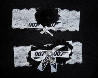 James Bond Inspired Wedding Garter,007  Inspired Garter,Super Hero Garter, Garter,Plus Size Garter,007 Inspired Garter,Geeky Garter