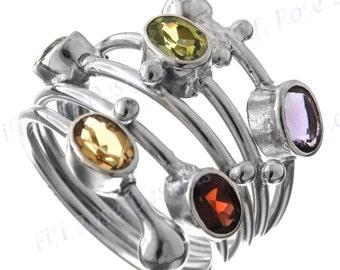 "1"" Gorgeous Multi Gemstones 925 Sterling Silver Sz 9 Ring"