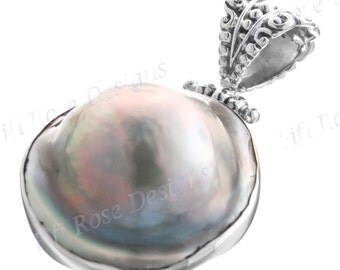 "1"" Fifi Rose 17mm Huge Mabe Pearl 925 Silver Pendant"