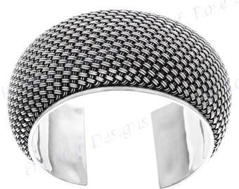 """1 5/8"""" Wide 100gr Bali Braided 925 Sterling Silver Cuff Bracelet"""