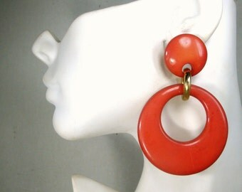 Large Lucite Hoop Dangle Earrings, MOD 1960s Persimmon, Earthy Color Posts