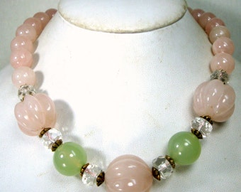 Rose Quartz Crystal Bead Necklace, Clear Crystal and SouChou Jade too, 1980s Mint Sample, OOAK Rachelle Starr, Short n Chunky but Classic