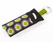 Chapstick Holder Keychain, Lip Balm Holder, Chapstick Holder, Lip Balm Keychain, Lip Balm Case, Pink and Green Mod Flowers Lip Balm Holder