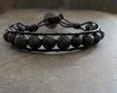 Lava Stone Bracelet Black Diffuser Jewelry Leather Cord Unisex Aromatherapy   Beaded Bracelet  Lava Stone Men's Bracelet  Edgy Jewelry