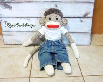 Large Sock Monkey Dude Doll Wearing a Shirt and Jeans
